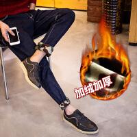 男加绒牛仔裤韩版修身小脚秋冬牛仔裤青少年保暖牛仔裤迷彩绒高档牛仔裤