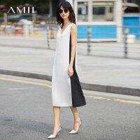 Amii[极简主义]2017夏新大码时尚拼接撞色无袖显瘦连衣裙11782030