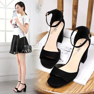 ZHR2017春季新款韩版一字鞋女坡跟鞋浅口单鞋休闲鞋女潮Y02