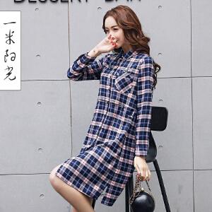 一米阳光2017早春新款韩版格子衬衫女中长款修身百搭衬衣
