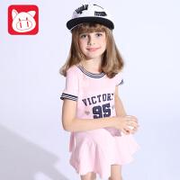 小猪班纳童装女童A字裙2017夏装新款儿童连衣裙女中大童裙子