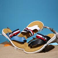 凉鞋男夏季新款男士真皮沙滩鞋休闲韩版潮流青年夹趾人字凉拖鞋子