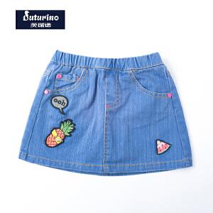 [满200减100]芙瑞诺童装女童夏装浅蓝色半身裙可爱织章牛仔短裙