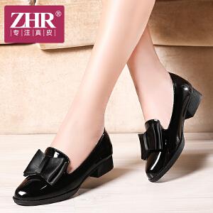ZHR2017春季新款尖女漆皮女士皮鞋鞋蝴蝶结甜美浅口粗跟单鞋工作鞋休闲鞋J13