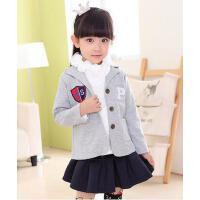女童长袖外套 韩版保暖小夹克 学院风可爱甜美俏皮小西装女上衣字母外套小夹克3-12