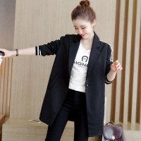 2017春秋新款韩版中长款修身黑色西服休闲外套小西装大码女装17XY9209
