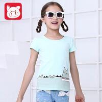 小猪班纳童装女童短袖t恤儿童T恤韩版中大童圆领上衣2017夏季新款