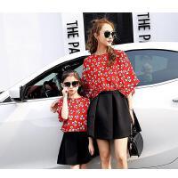 新款潮母女装套装裙子碎花雪纺上衣短裙两件套韩版亲子装夏装 可礼品卡支付