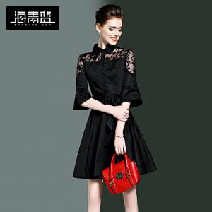 海青蓝2017春装新款蕾丝通勤高腰A字小黑裙七分喇叭袖连衣裙8842