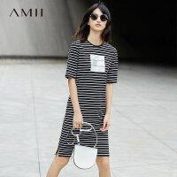 Amii[极简主义]2017夏新品印花条纹连衣裙 11761164