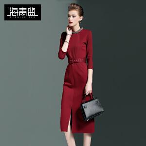 海青蓝2017春季新款七分袖通勤立领钉珠气质修身中长款连衣裙6081