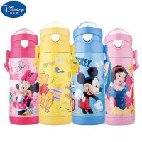 迪士尼卡通保温杯 儿童吸管水壶背带水杯 学生安全便携水壶