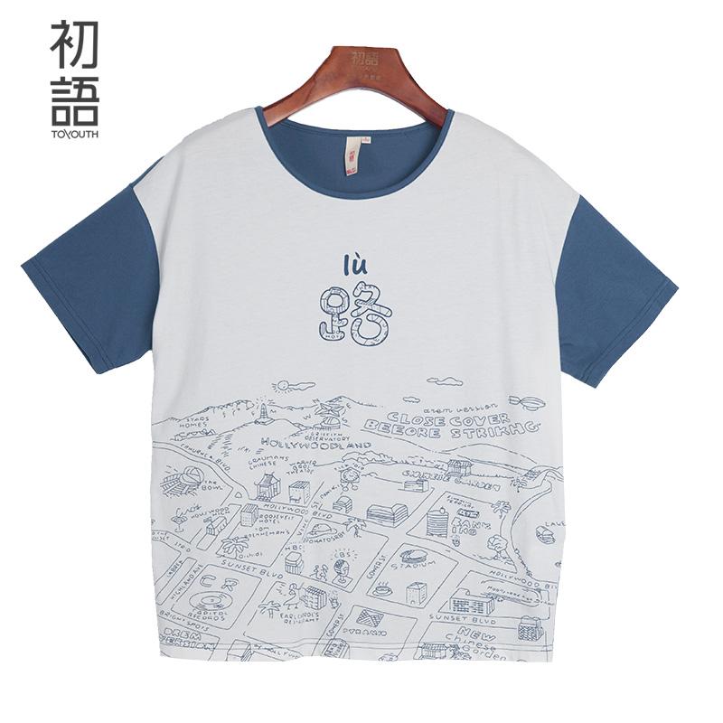 初语2016夏季新品 手绘涂鸦印花短袖t恤女8520131289_米白,s