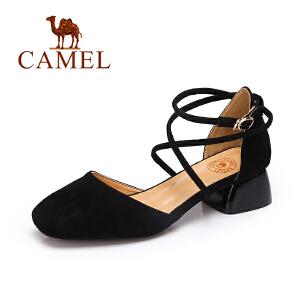 Camel/骆驼单鞋 2017春夏季新款低帮女鞋 优雅舒适性感绑带中跟方头鞋子