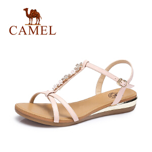 Camel/骆驼女凉鞋 夏季新品简约百搭凉鞋女 甜美时尚优雅坡跟凉鞋