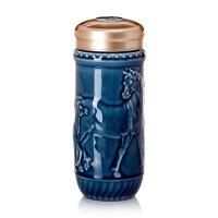 乾唐轩活瓷杯幸福相随随身杯双层茶杯水杯子隔热防烫陶瓷便携
