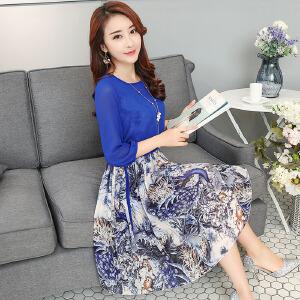 香衣宠儿 2017春季新品女装 韩版波西米亚印花长袖裙子 中长款雪纺连衣裙套装两件套 2580-1712