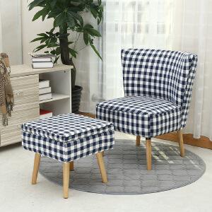 未蓝生活单人沙发休闲椅书房布艺简约田园风小户型多功能沙发凳