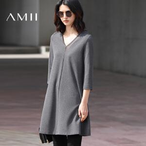 Amii[极简主义]2017春新品拼接V领七分袖大码短连衣裙女11720221