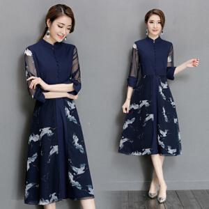 中国风修身文艺 复古印花棉麻 旗袍印花长裙