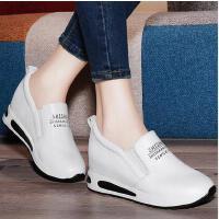 百年纪念内增高休闲单鞋秋季新款真皮韩版女鞋白色跑步运动鞋1217