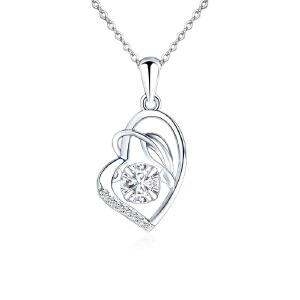 芭法娜 s925银镶爱心 韩版灵动锁骨吊坠 会动的爱心闪钻