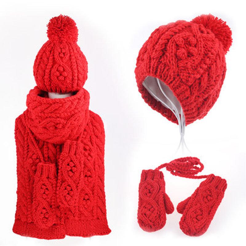 冬天女生保暖可爱毛线帽子围巾手套三件套装