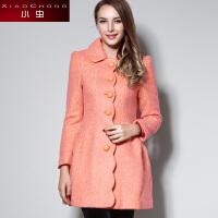 小虫2016冬装新款欧美时尚纯色修身毛呢外套女中长款单排扣大衣