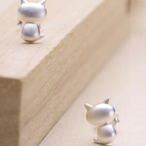 芭法娜 调皮猫系列 s925银耳钉  素银耳钉 猫咪造型时尚可爱