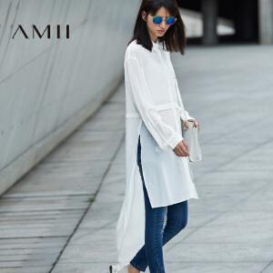 【AMII超级大牌日】[极简主义]2017年春女纯色透视雪纺长袖宽松中长款衬衫11692125