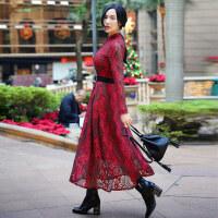 2017春装新款韩版优雅气质显瘦高腰复古花色大摆蕾丝连衣裙
