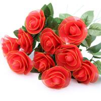 红色玫瑰花材料包套装 丝袜花材料制作套装 丝网花手工DIY制作 弹力袜新手材料包 花艺材料包 红色玫瑰花10朵材料包