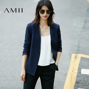 【预售】Amii2017春新修身V领绣花钩扣开衩休闲西装女11770539