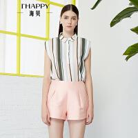 【3.28上新】海贝2017年夏季新款女装 复古翻领撞色条纹遮肉显瘦短袖雪纺衬衫