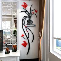 吊兰花3d水晶亚克力立体墙贴客厅沙发走廊门电视背景墙玄关装饰品