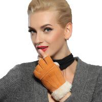 秋冬休闲半指露指羊皮毛一体 手套加厚女式皮手套