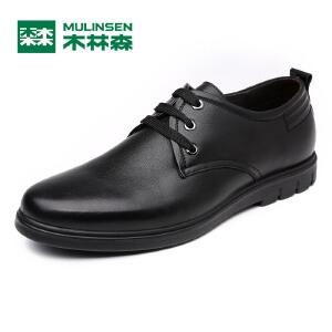 木林森男鞋 2017新款商务正装简约休闲皮鞋 系带舒适牛皮男士鞋子05177005