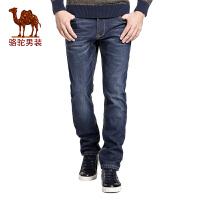 骆驼&熊猫联名系列男装 时尚流行中腰加绒加厚牛仔裤直筒长裤子男