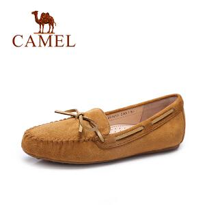 Camel/骆驼女鞋 春夏季新款休闲百搭豆豆鞋 纯色平底单鞋
