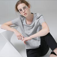 初语2017夏装新款 小章鱼刺绣圆领字母印花短袖T恤女百搭纯棉上衣