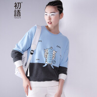初语 春装新款 猫咪印花长袖卫衣卡通动漫卫衣女8630521010