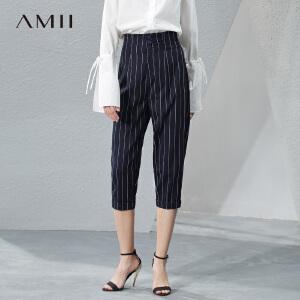 Amii[极简主义]2017春新简练帅气竖条纹排扣休闲七分裤女11780583