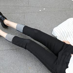 波柏龙 2017春季韩国卷边牛仔裤女高腰显瘦弹力九分裤翻边小直筒裤潮