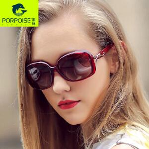 海豚太阳镜 女士时尚优雅偏光太阳眼镜 镶钻精致驾驶旅游大框墨镜