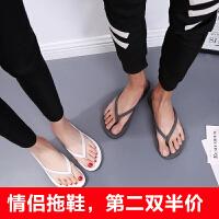 情侣人字拖女夏防滑平底男学生休闲夹脚沙滩鞋白色拖鞋