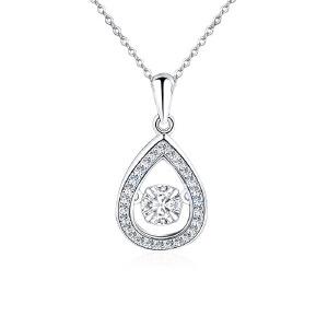 芭法娜 s925银韩版时尚流行水滴型灵动吊坠 送银链 会动的闪闪锆石