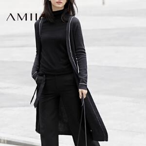 【AMII超级大牌日】[极简主义]2017春女新撞色线条毛针织V领开衫长外套11780062