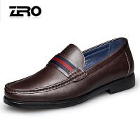 Zero零度休闲皮鞋 男春季新款真皮圆头商务休闲鞋柔软套脚单鞋D71019