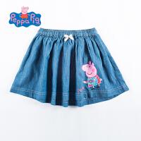 小猪佩奇童装女童2017夏新品甜美佩奇印花棉感牛仔裙百褶短裙