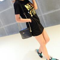 2016新款时尚菱格铆钉小包女士潮流链条单肩包斜挎包手机包